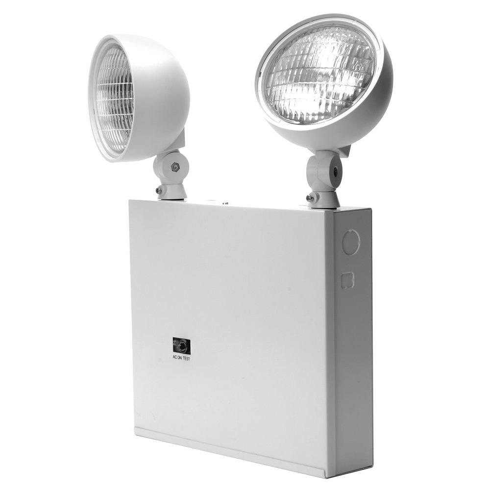 Lithonia Lighting New York Approved 2-Head White Steel Emergency Fixture Unit