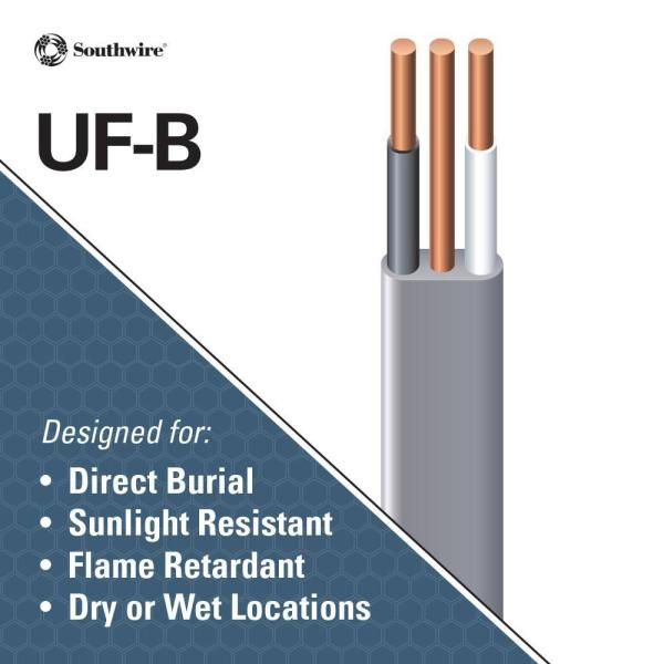 15 ft 12//2 UF-B WG Underground Feeder Direct Burial Wire//Cable