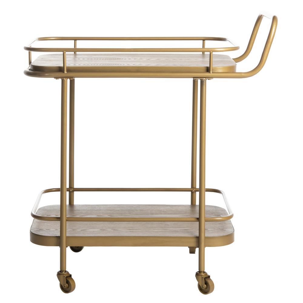 Safavieh Gaia 2-Tier Rustic Oak/Gold Bar Cart BCT6201B