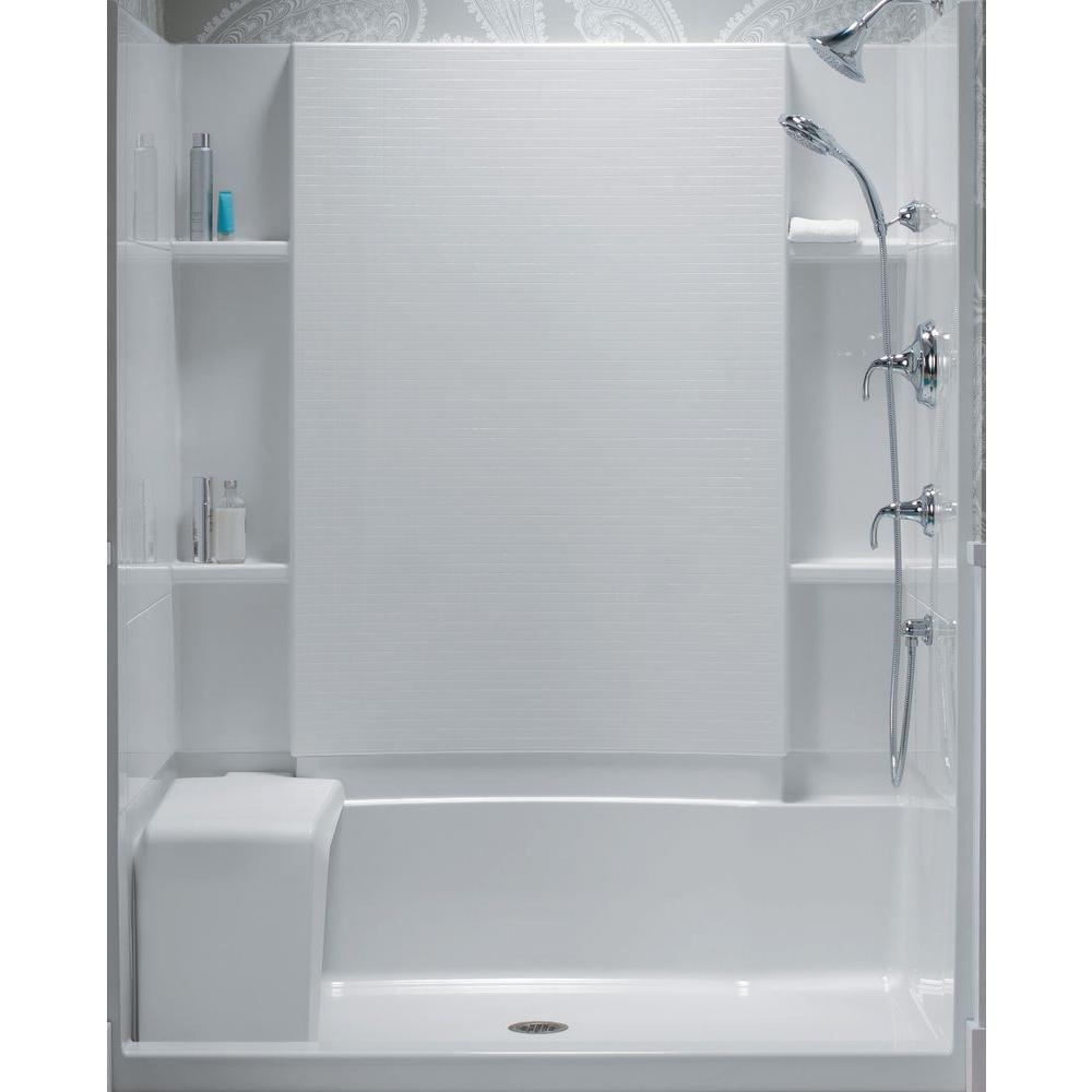 two piece shower tub unit. STERLING Accord 36 in  x 60 55 1 8 Bath Shower Wall Set White 71164103 V 0 The Home Depot