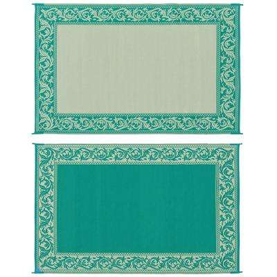 6 ft. X 9 ft. Classical Green/Beige Reversible Mat