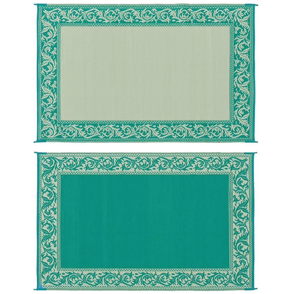8 ft. x 20 ft. Classical Green/Beige Reversible Mat