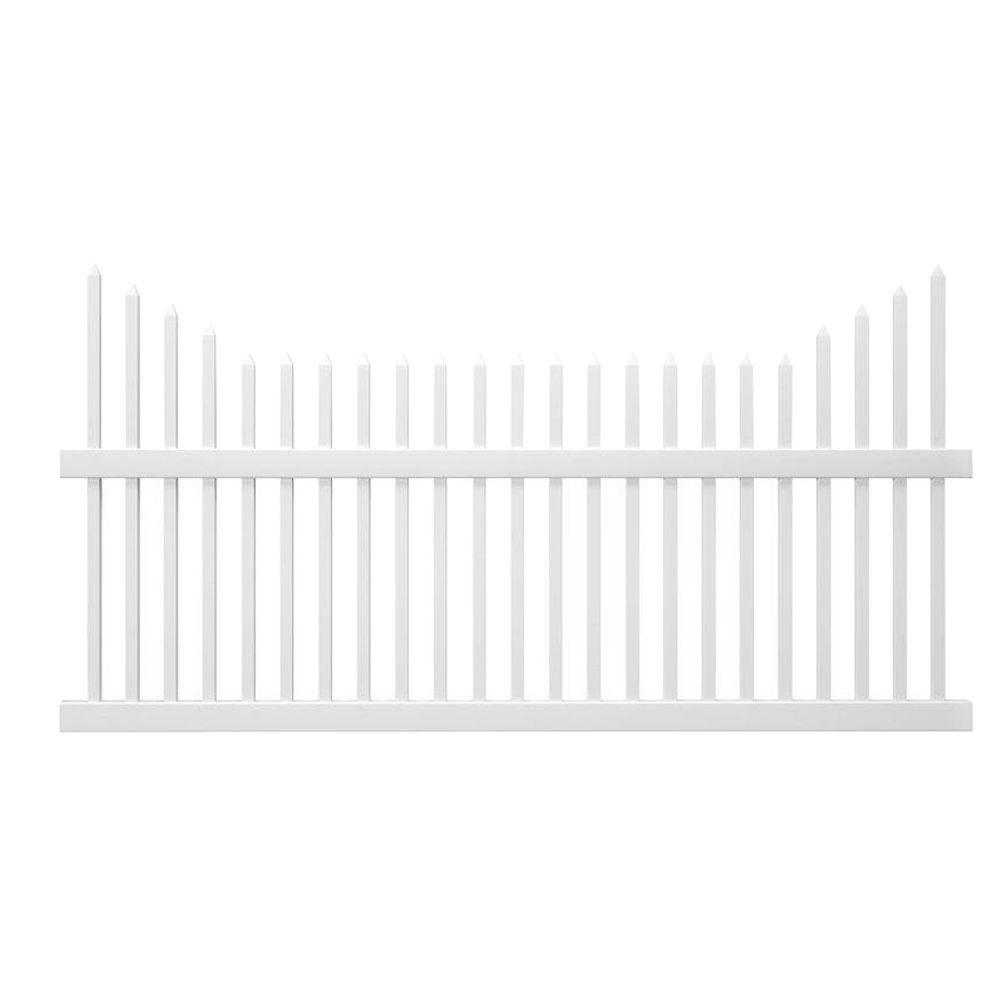 Veranda Pro-Series 3.5 ft. H x 8 ft. W White Vinyl Alexandria Cut Scalloped Spaced Picket Fence Panel - Unassembled