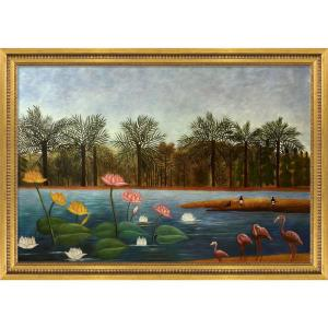 ''The Flamingoes with Versailles Gold Queen'' by Henri Rousseau Framed Abstract Wall Art Oil Painting 41 in. x 29 in.