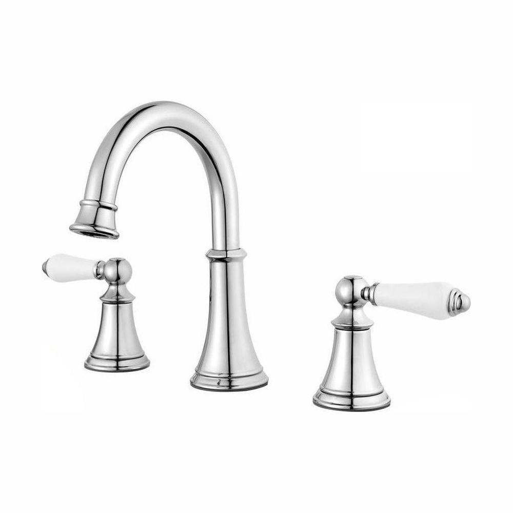 Pfister Courant 8 in. Widespread 2-Handle Bathroom Faucet in Polished  Chrome with White Handles