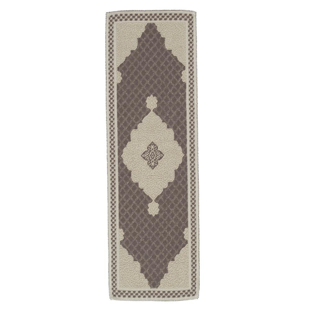 Ottomanson Nature Cotton Kilim Collection Brown Medallion Design 1 ft. 8 in. x 4 ft. 11 in. Runner Rug