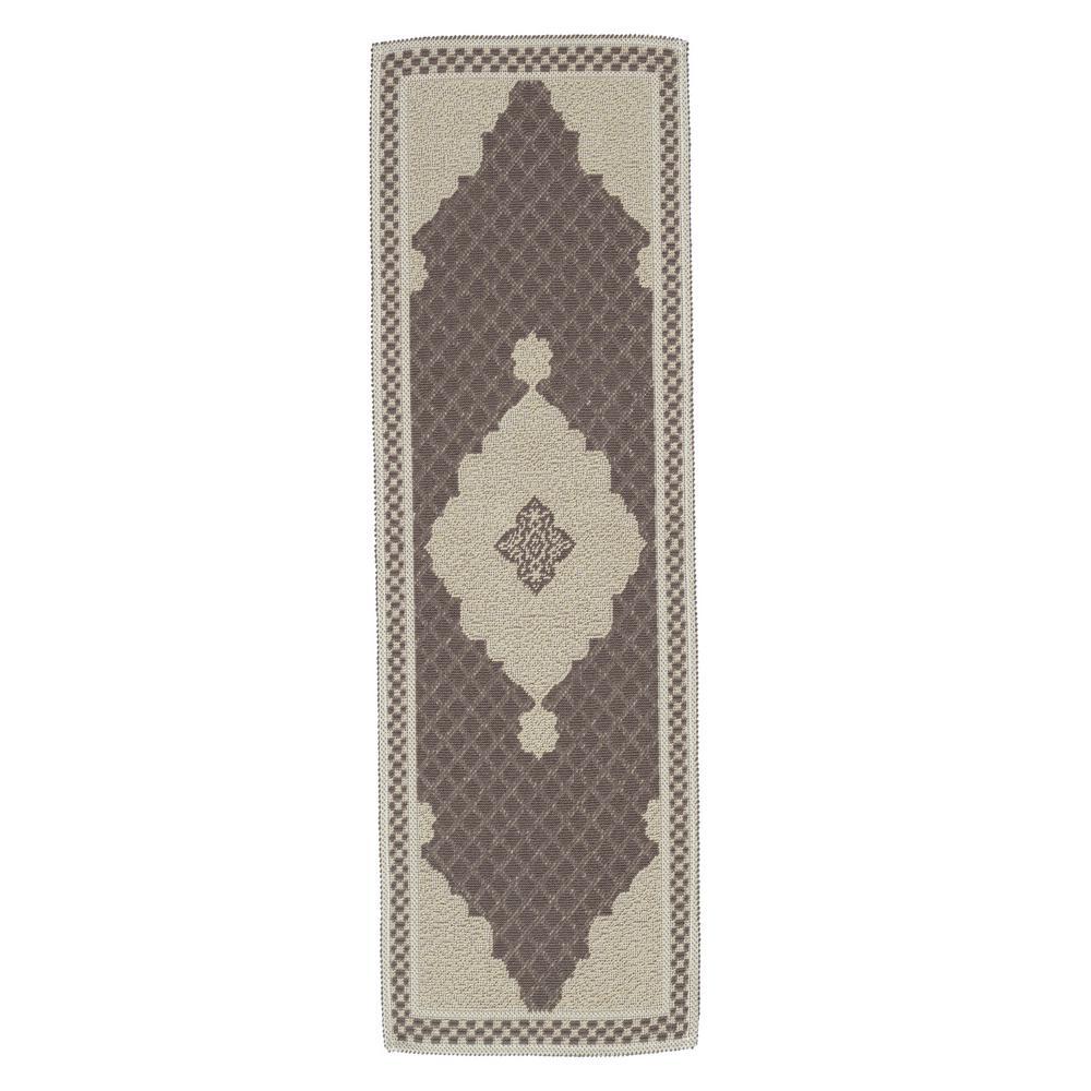 Nature Cotton Kilim Collection Brown Medallion Design 2 ft. x 5 ft. Runner Rug
