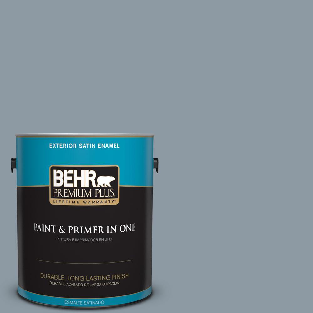BEHR Premium Plus 1-gal. #N490-4 Teton Blue Satin Enamel Exterior Paint