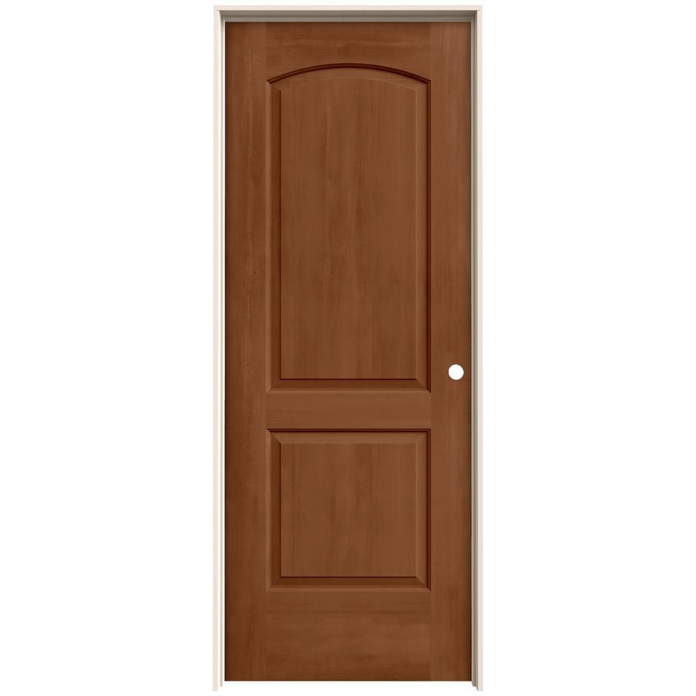 28 in. x 80 in. Continental Hazelnut Stain Left-Hand Molded Composite MDF Single Prehung Interior Door