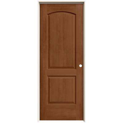 32 in. x 80 in. Continental Hazelnut Stain Left-Hand Solid Core Molded Composite MDF Single Prehung Interior Door
