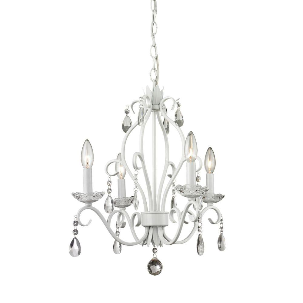White chandeliers lighting the home depot queen 4 light matte white chandelier arubaitofo Image collections