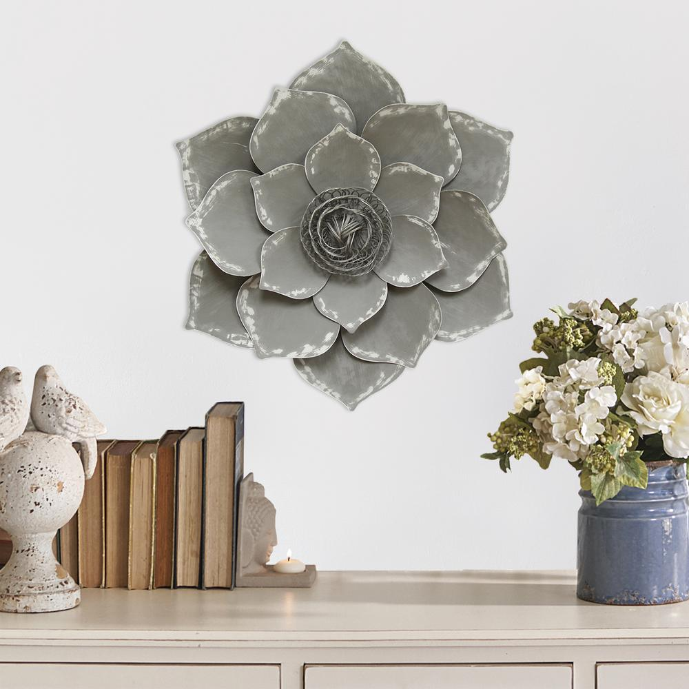 Stratton Home Decor Metal Grey Lotus Wall Decor S07656