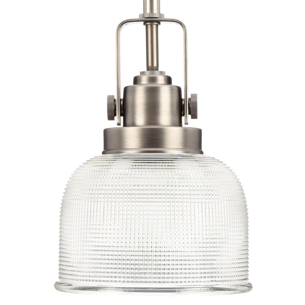 Progress Lighting Archie Collection 1 Light Antique Nickel Mini Pendant With Clear Prismatic Gl