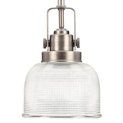 Archie Collection 1-Light Antique Nickel Mini Pendant with Clear Prismatic Glass
