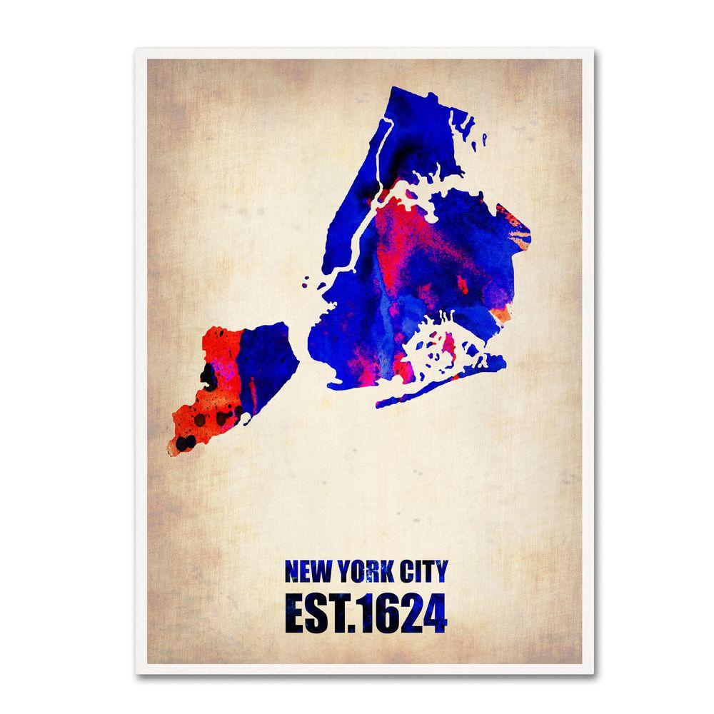 32 in. x 24 in. New York City Watercolor Map Canvas