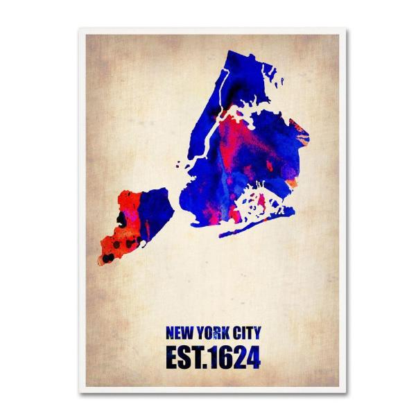 19 in. x 14 in. New York City Watercolor Map Canvas