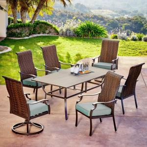 Rhone Valley 7 Piece Wicker Outdoor Dining Set With Teal Cushions