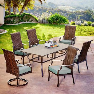 Rhone Valley 7-Piece Wicker Outdoor Dining Set with Teal Cushions