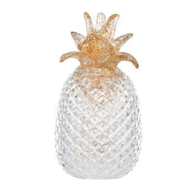 9 in. Light White Glass Pineapple with LED