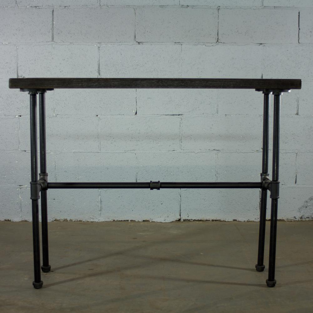 Black Steel Industrial Pipe Console Sofa Hall Table with Reclaimed Aged