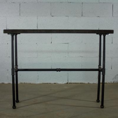 Black Steel Industrial Pipe Console Sofa Hall Table with Reclaimed Aged Wood