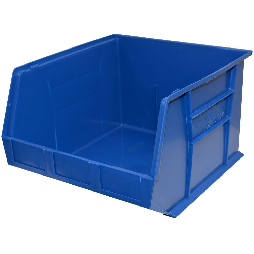Storage Concepts 16-1/2 in. W x 18 in. D x 11 in. H Stackable Plastic Storage Bin in Blue (3-Pack)