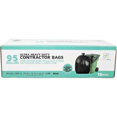 61 in. W x 68 in. H. 95 Gal. 3 mil Black Contractor Bags (10-Case)