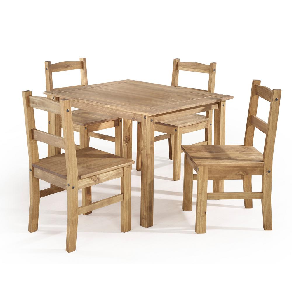 5 Piece Dining Set Wood Metal Frame Table And 4 Chairs: Manhattan Comfort York 5-Piece Nature Solid Wood Dining