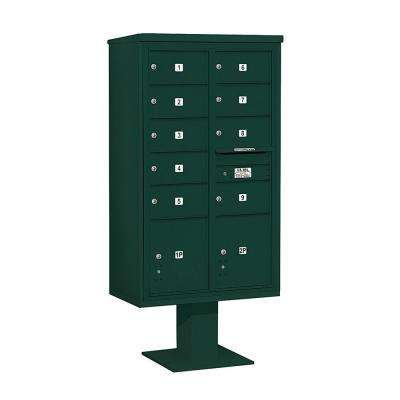 3400 Series 70-1/4 in. 15 Door High Unit Green 4C Pedestal Mailbox with 9 MB2/2 PL5