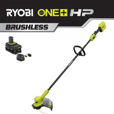 ONE+ 18-Volt HP Lithium-Ion Cordless Brushless String Trimmer - 4.0 Ah Battery and Charger