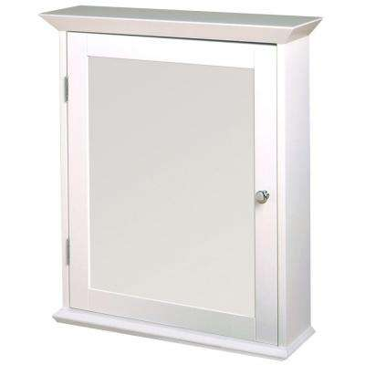 22 in. W Framed Surface-Mount Bathroom Medicine Cabinet with Swing Door in White