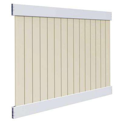 Roosevelt 6 ft. H x 8 ft. W Two-Toned White and Sand Vinyl Privacy Fence Panel Kit