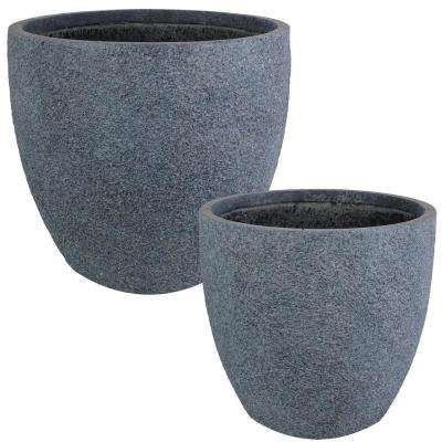 Estate 15 in. and 17 in. Gray Sandstone Fiber Clay Durable Indoor/Outdoor Use Planter Flower Pot Set (2-Piece)