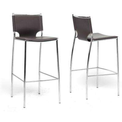 Montclare Brown Faux Leather Upholstered 2-Piece Bar Stool Set