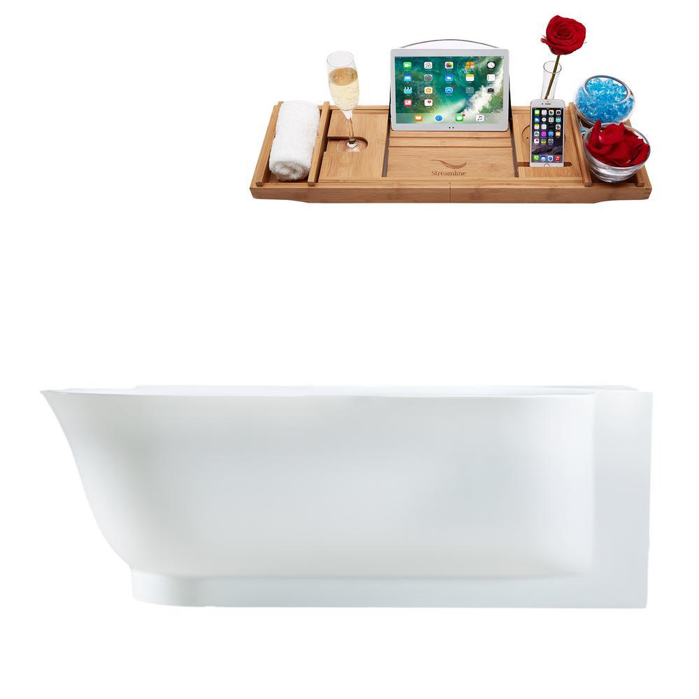 Streamline 67 in. Acrylic Center Drain Corner Alcove Non-Whirlpool Bathtub in Glossy White