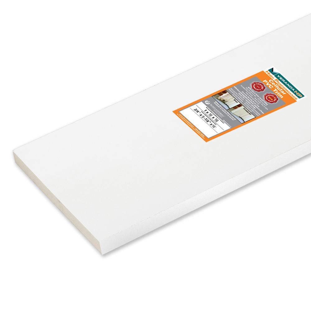 Veranda HP 3/4 in  x 9-1/4 in  x 16 ft  High Performance White Cellular PVC  Trim Board