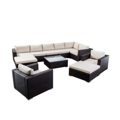 Santa Rosa Multi-Brown 11-Piece Metal Patio Conversation Sectional Seating Set with Beige Cushions