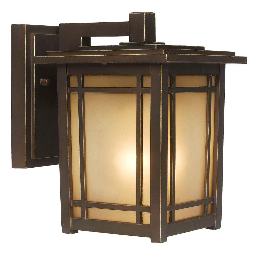 Home Decorators Collection Port Oxford 1 Light Oil Rubbed Chestnut Outdoor Wall Mount Lantern 23211