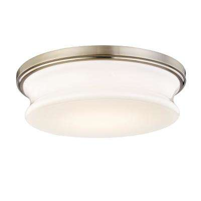 Drift 60-Watt Equivalence Satin Nickel Integrated LED Flushmount with Glass Shade