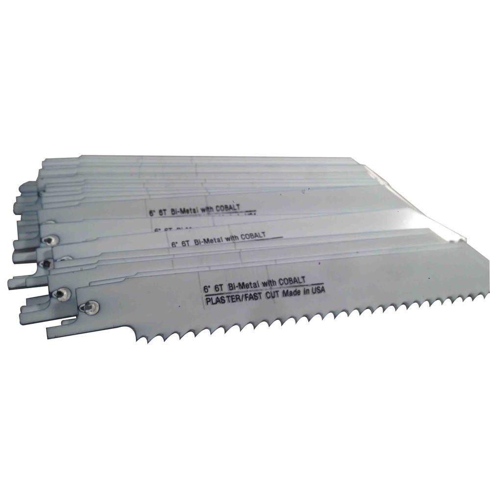 6 in. x 3/4 in. x 0.050 in. 6 Teeth per in. Plaster Cutting Bi-Metal Reciprocating Saw Blade (50-Pack)