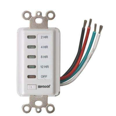 Decora Style 12-8-4-2 Hour Preset Wall Switch Timer, White