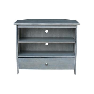 Heather Gray 35.5 in. W Solid Wood Mission Corner TV Stand