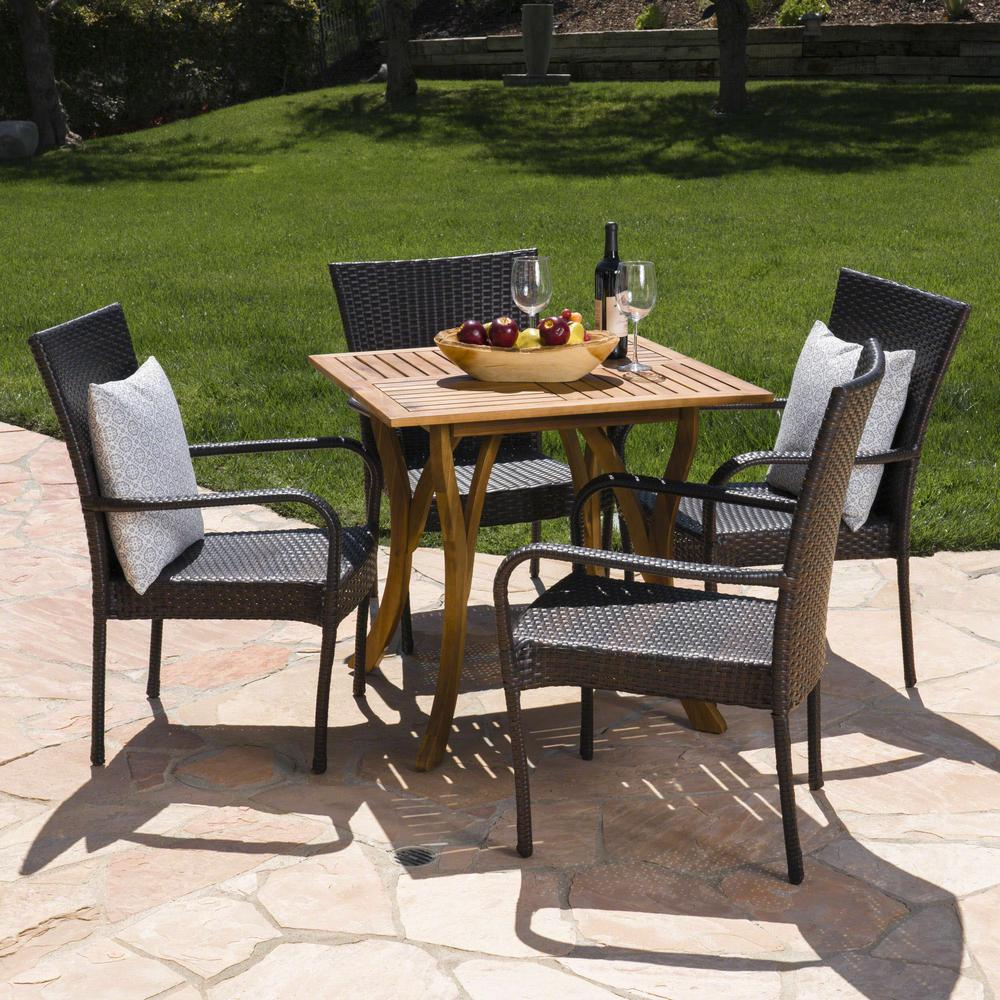 Noble House Kace 5 Piece Wood And Wicker Square Outdoor Dining Set