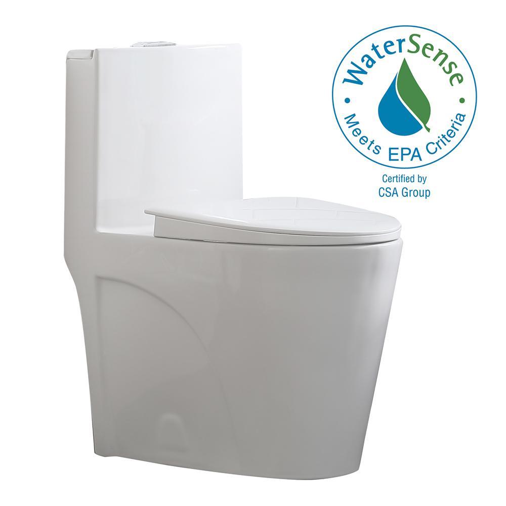 OVE Decors Buxton 1-Piece 1.6 GPF/1.1 GPF Dual Flush Elongated Toilet in White