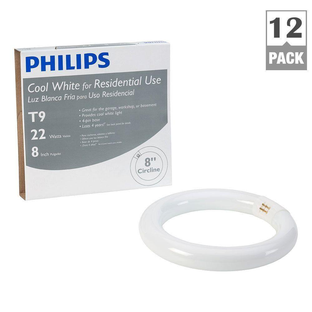 Philips 8 in. T9 22-Watt Cool White (4100K) Plus Circline Linear Fluorescent Light Bulb (12-Pack)