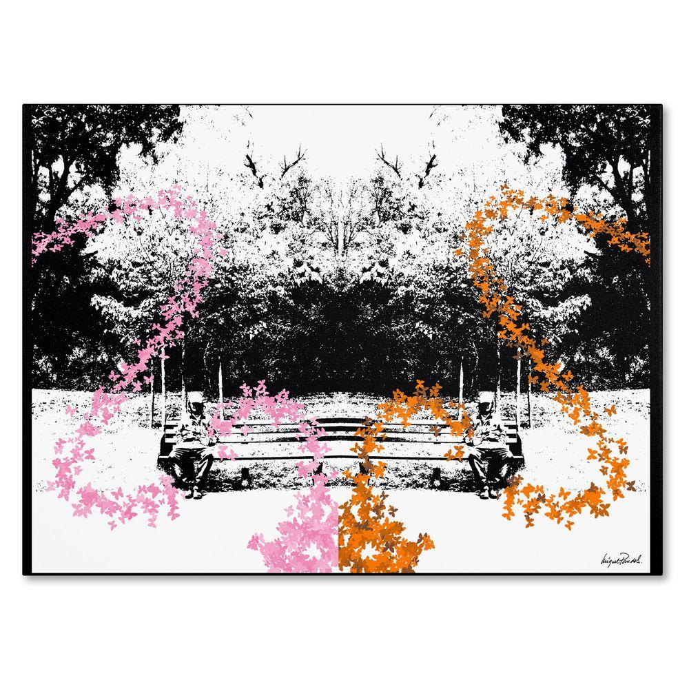 14 in. x 19 in. Pink and Orange Butterflies Canvas Art