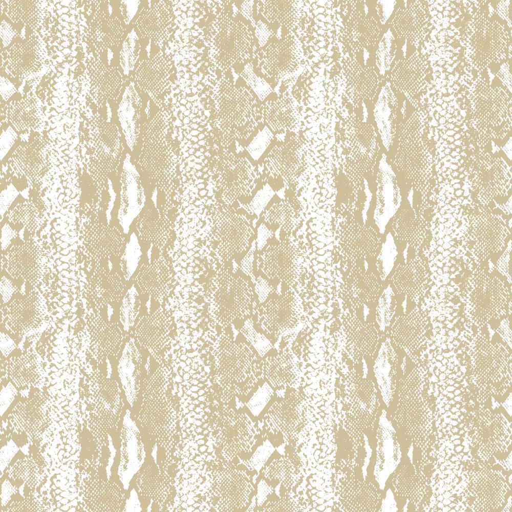 28.18 sq. ft. Snake Skin White/Gold Peel and Stick Wallpaper