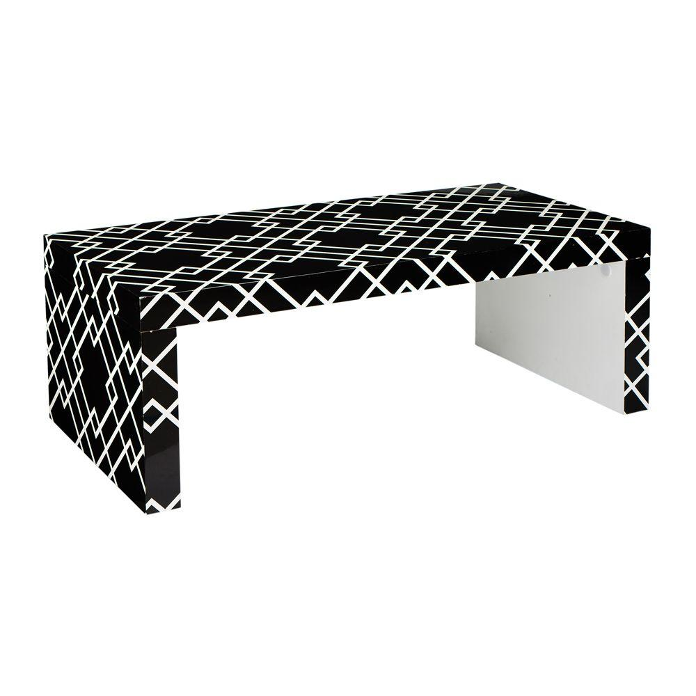 Home Decorators Collection 48 in. W Loft Black Patterned Coffee Table