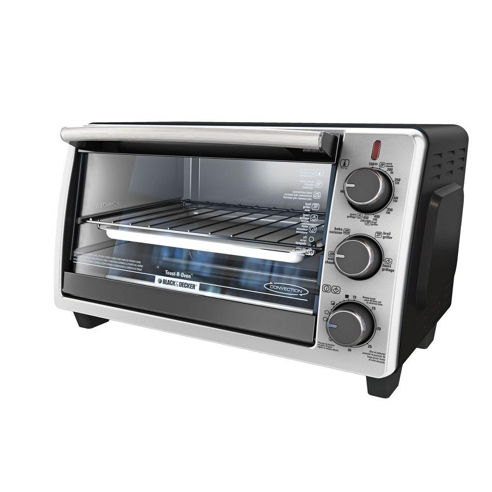 BLACK+DECKER Black and Stainless Steel Toaster Oven