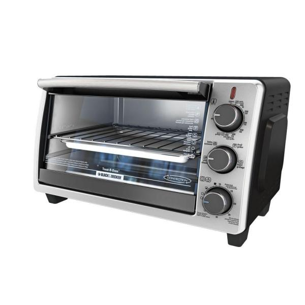 BLACK+DECKER 1350 W 6-Slice Black Stainless Steel Toaster Oven with Broiler